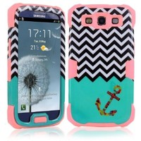 MOKOU B Style 3 Pieces Hybrid Design Anchor Print Protective Back Case Cover Fit For Samsung Galaxy S3 i9300