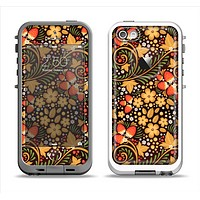 The Colorful Floral Pattern with Strawberries Apple iPhone 5-5s LifeProof Fre Case Skin Set