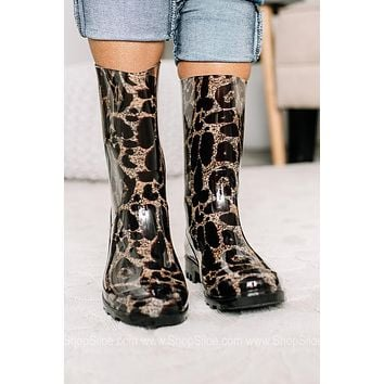 Jumping Puddles Leopard Rain Boots