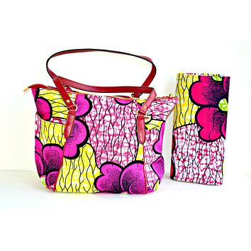 Large African Print Tote Pink And Yellow Print With leather Straps