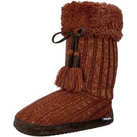 Muk Luks Womens Knit Metallic Bootie Slippers