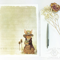 Woodland Paper - Stationery Paper - Stationery Paper Set with Envelopes - Stationery Set - Writing Paper - Lined Paper - Rabbit Paper - Cute