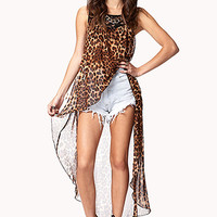 FOREVER 21 Leopard Print High-Low Top Taupe/Black