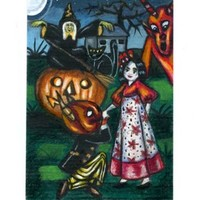 original aceo art witch girl demons pumpkin Halloween mini art Elizavella