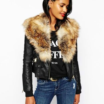 Winter women leather jacket fur collar outerwear imitation leather grass turn-down collar stitching leather motorcycle PU Coat