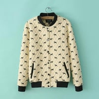 Cream Dog Pattern Print Button Jacket
