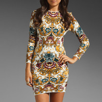 Long Sleeve Printed Mini Bodycon Dress