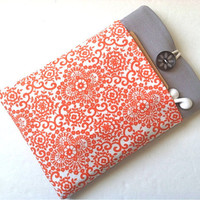 iPad Mini Case Cover with Pocket Custom - Coral Damask