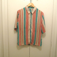 Ocean Sunrise Button Up Blouse