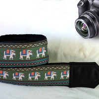 Lucky Elephants Camera Strap. Christmas Gift.  Photographer Gift