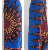 Boho Vintage Batik Maxi Wrap Skirt // floor length with sun design
