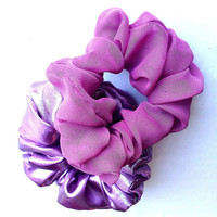 Set of two soft purple hair scrunchy/scrunchies/ponytail holder/hair bun holder/women