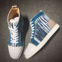 DCCK Cl Christian Louboutin Lou Spikes Mid Style #2175 Sneakers Fashion Shoes
