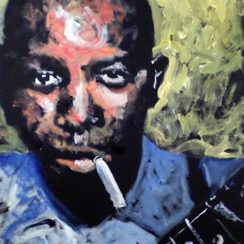 Unique Pop Art Painting 16x20, Robert Johnson, Crossroads, Blues Music, Jazz Art, Urban Art, Rock Art, Gift Idea