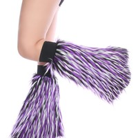 Black, Purple and White Monster Fluffies : Clubstyle Rave Fluffy Leg Warmers