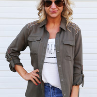 Stud For What {Military Button Up}