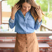 Suede Button Mini Skirt - Camel