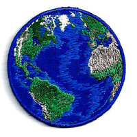 "EARTH - WORLD PLANET FULLY EMBROIDERED IRON ON PATCH (B) - 2 1/4"" (5.7cm)"