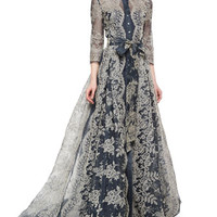 Carolina Herrera Embroidered Lace Pleated Gown