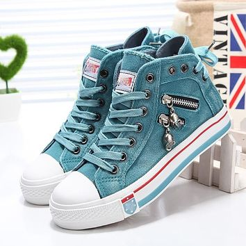 Women Fashion Sneakers Denim Canvas Shoes Spring Autumn Casual Shoes Trainers Walking Skateboard Lace-up Shoes