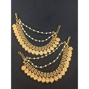 Matte gold plated Peacock embossed triple layer earrings chain / Maatal