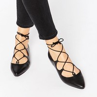 Warehouse Pointed Ghillie Lace Up Flat Shoes