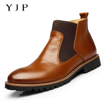 YJP Spring/Autumn Genuine Leather Chelsea Boots, Black/Brown/Red