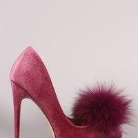 Allure Fur Pom Velvet Pump