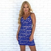 Thinking of You Blue Crochet Dress