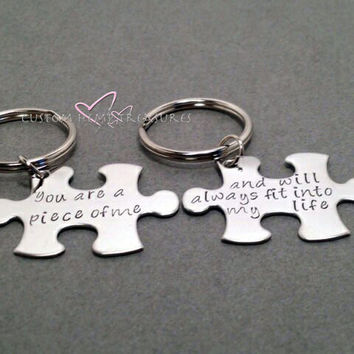 Couples Keychains, Long Distance Relationship, You are a piece of me , Anniversary Gift