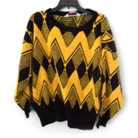 Women ugly christmas oversized sweater charlie brown geometric 70s 80s vintage black yellow eileen size large