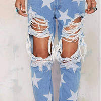 Star Printed Jeans
