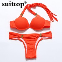 suittop Bikini 2017 Summer Sexy Solid Multi Color Maillot De Bain Push Up String Swimwear Underwire Swimming Suit for Women
