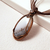 Winter Merlinite Dendrite Opal Copper Pendant Necklace, Wire Wrapped Rustic Copper Jewelry