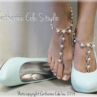 PARISIAN Barefoot sandals wedding SHOP AT http://catherinecolestudio.com/item_660/Barefoot-sandals-PARISIAN-elegant-bridal-beach-wedding-foo