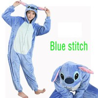 Winter Homewear Kigurumi For Adults Cute Animal Stitch Lilo Long Sleeve Hooded Onesuit