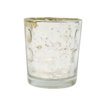Mercury Glass Candle Holder (3-Inch, Tess Design, Silver) - for use with Tea Lights - for Home Décor, Parties and Wedding Decorations