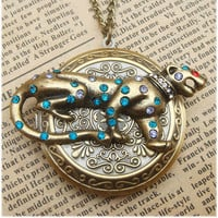 Steampunk Cougar Locket Necklace Vintage Style by sallydesign
