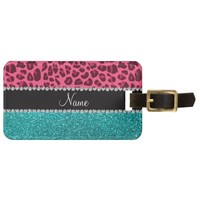 Personalized name pink leopard turquoise glitter