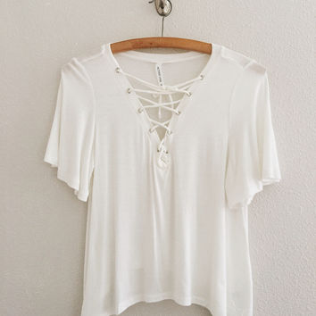 Brooklyn Lace Up Top (Off White)