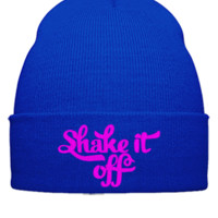 SHAKE IT OFF embroidery hat - Beanie Cuffed Knit Cap
