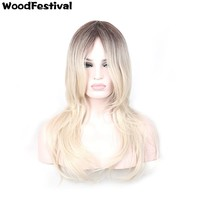 WOODFESTIVAL long straight wig ombre heat resistant wigs womens synthetic wigs blonde wig dark roots hair 24 inch