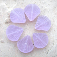 Lilac sea glass clam shell beads 6 in bag