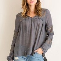 Lace Panel Top - Charcoal