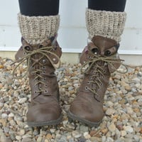 crochet boot cuff leg warmers in oatmeal tweed