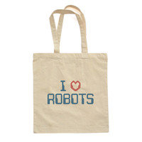 I Love Robots - Awesome Robotronic Techno Design on Natural Canvas Cotton Tote