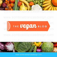 OOAK Premade Logo Design - Vegan Label - Perfect for a vegan or vegeratian recipes blog or a fitness business