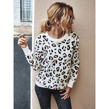 Leopard Print Cut Out Back Sweater