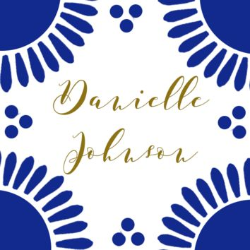 Spanish Tile Inspired Place Cards // Escort Cards // Blue
