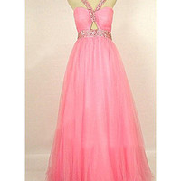Sweet Watermelon Ball Gown Straps Sweep Train Tulle Prom Dress
